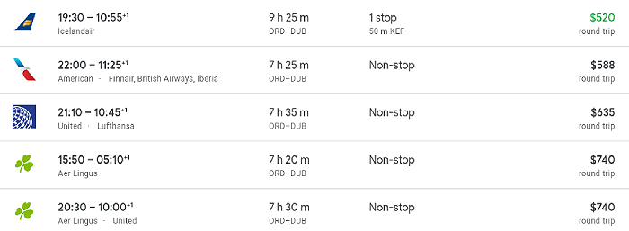 Flight prices from Chicago to Dublin