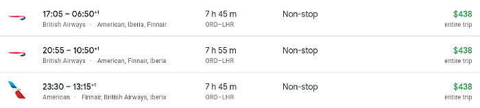 Flights from Chicago to London when booking a multi city ticket